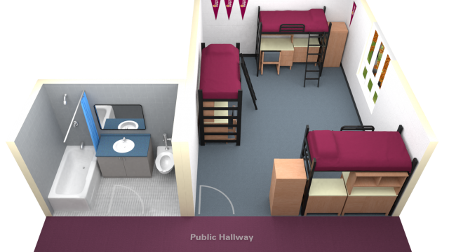 Lofted Triple With Access to Single Washroom Floor Plan