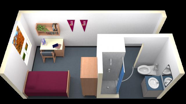 Single Room With Ensuite Washroom Floor Plan