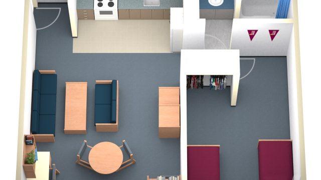 2 Person Apartment Floorplan