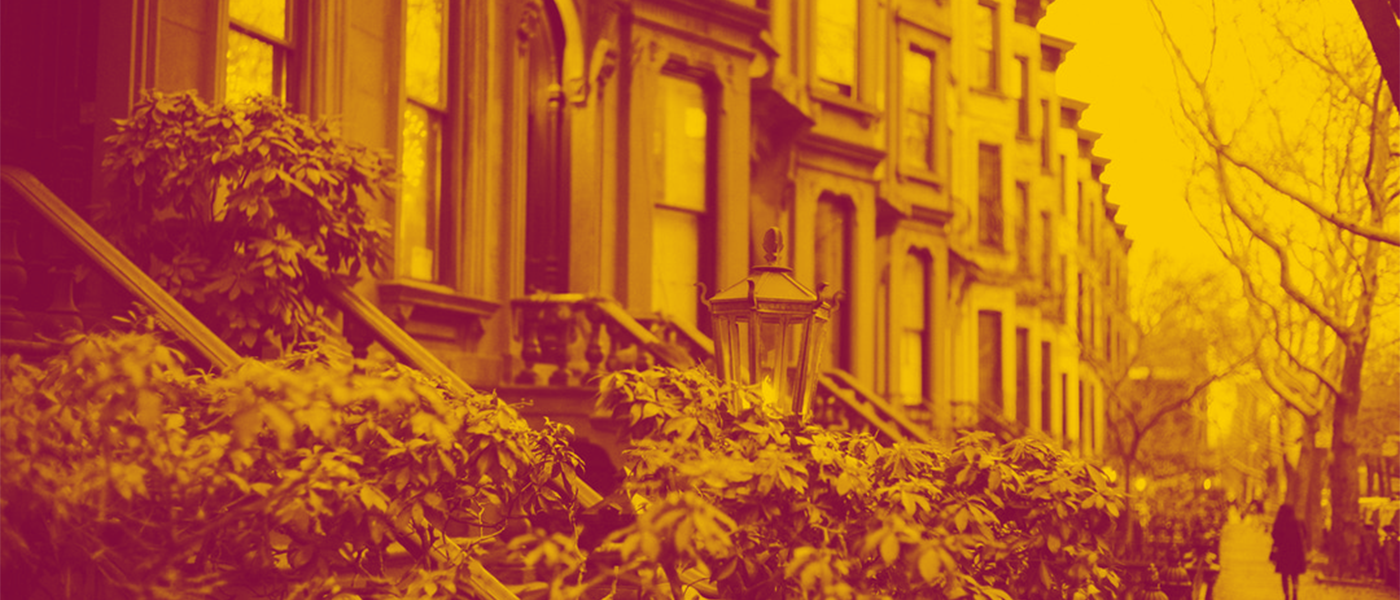 Duotone Image of Row Houses in Older Neighbourhood