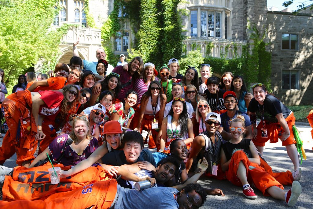 Off-Campus Reps Having a Great Time in a Group Photo Outside at McMaster