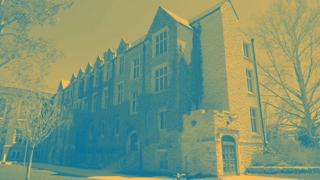 Duotone Image of University Hall