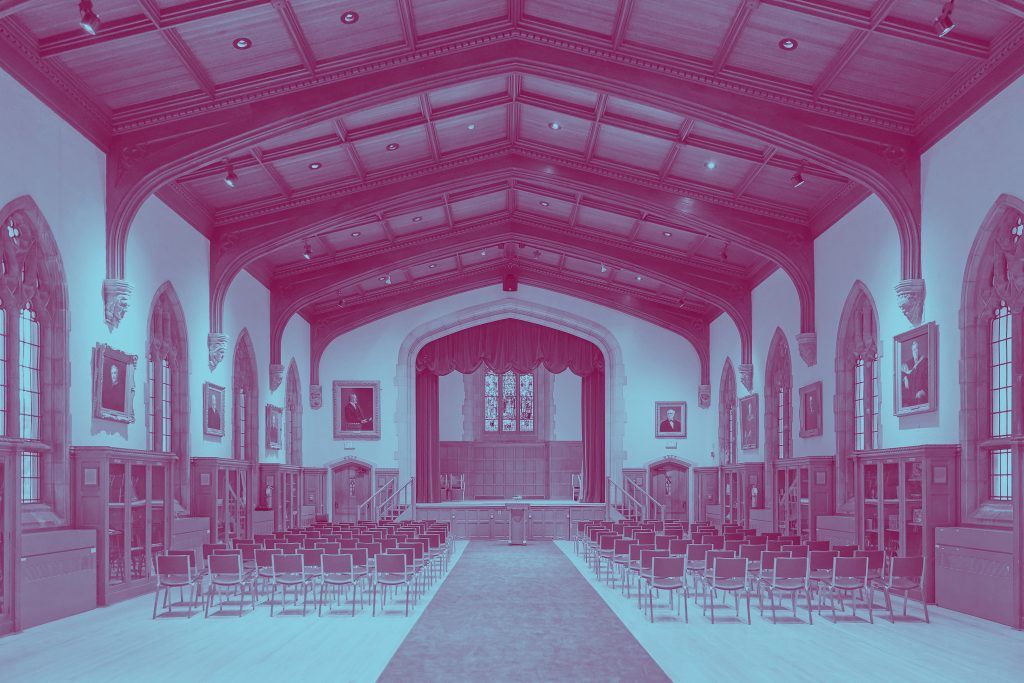 Wide angle shot of Convocation Hall in duotone colours