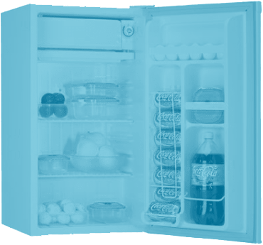 Open Coldex fridge displaying contents