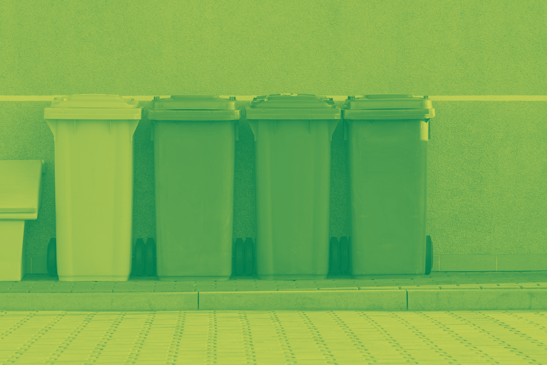 Garbage Cans in a row