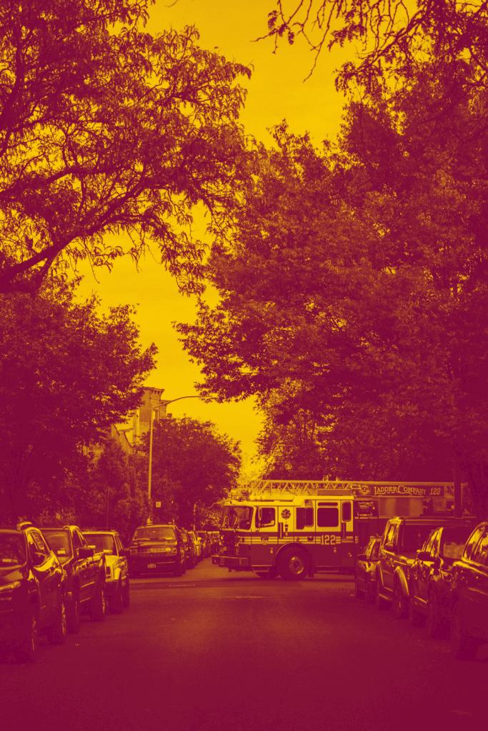 Firetruck in neighbourhood