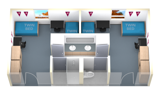 twin room double with connected washroom floor plan