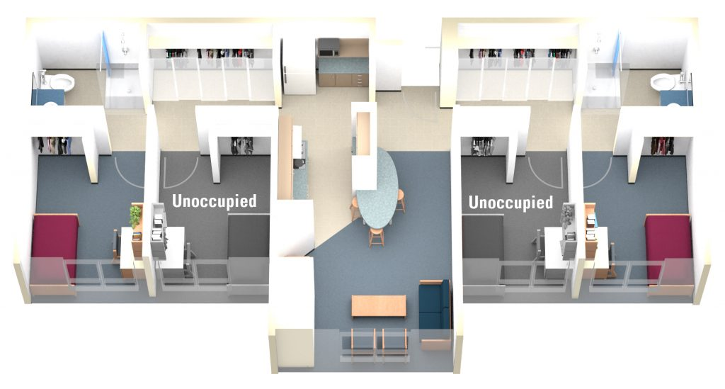 Single Occupancy Room in Private Washroom in Shared Suite