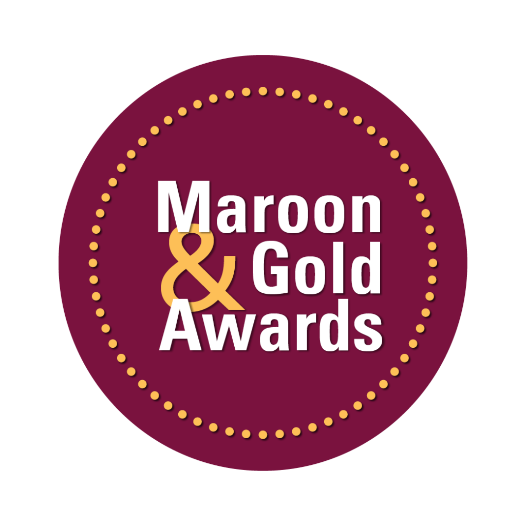 maroon and gold logo
