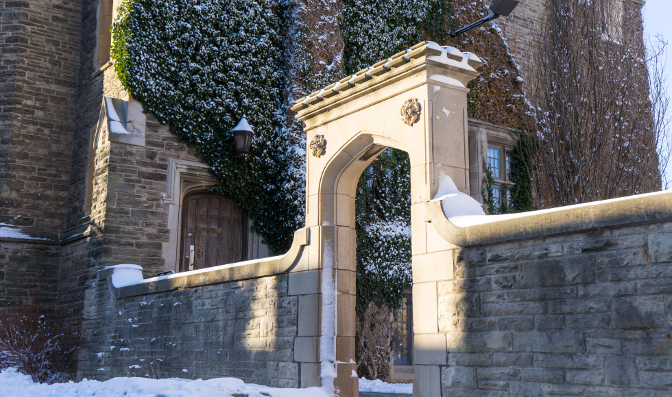 Edwards Arch on McMaster University Campus covered in snow