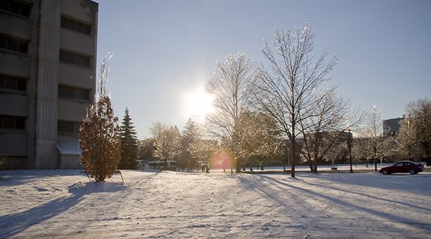 View of McMaster campus on a snowy day